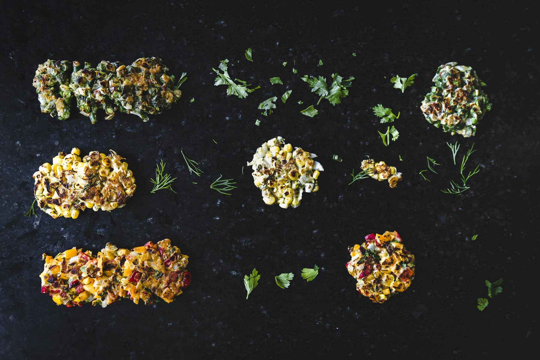 flatlay of Small batch summer vegetable fritters