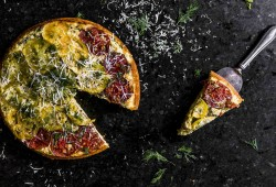 savory skillet cornbread: tomato upside down cake