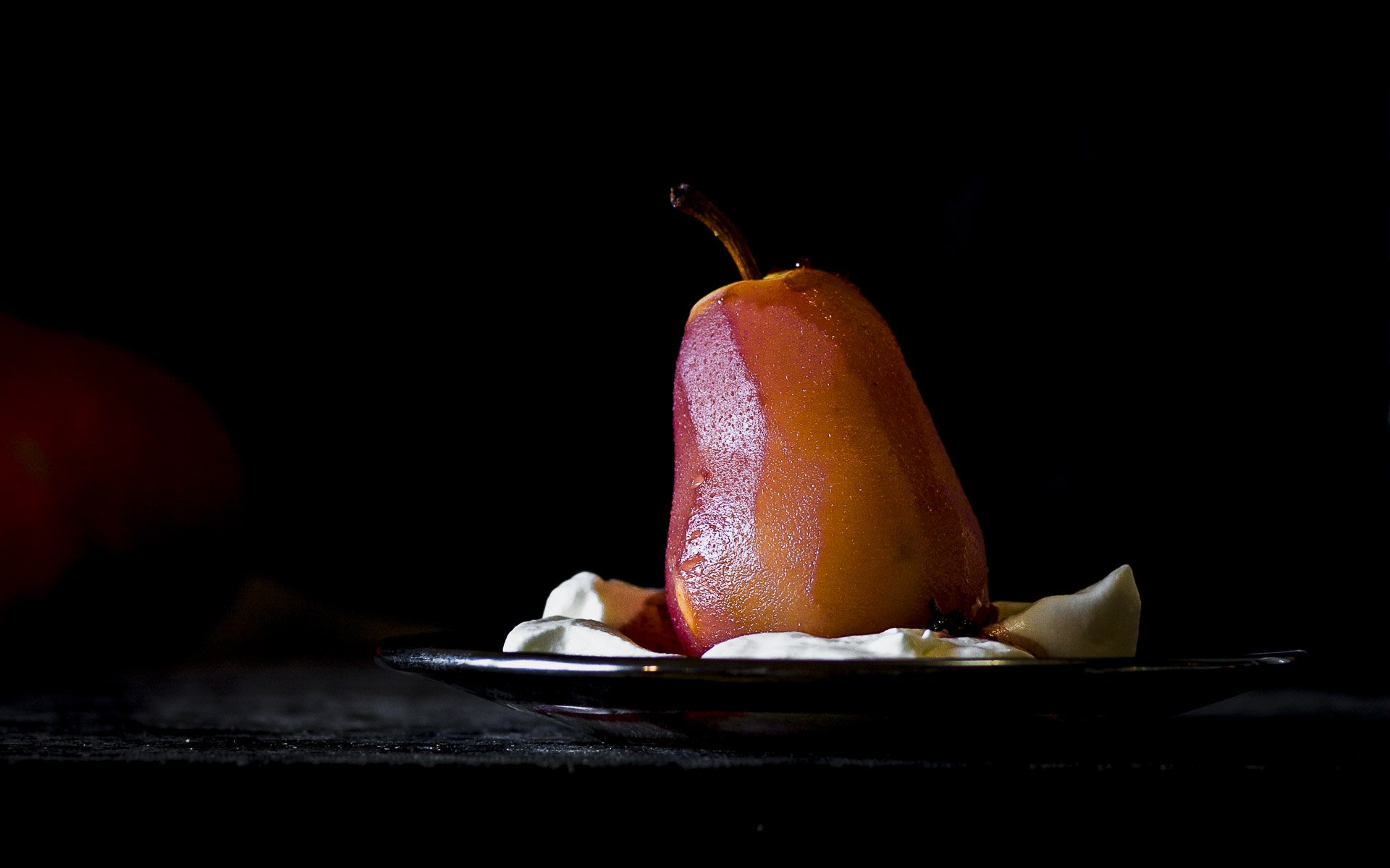 Cider Poached Pears with honey whipped cream