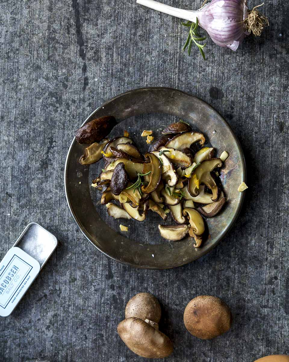 easy sautéed mushrooms: chanterelle, shiitake, or cremini- shown from above