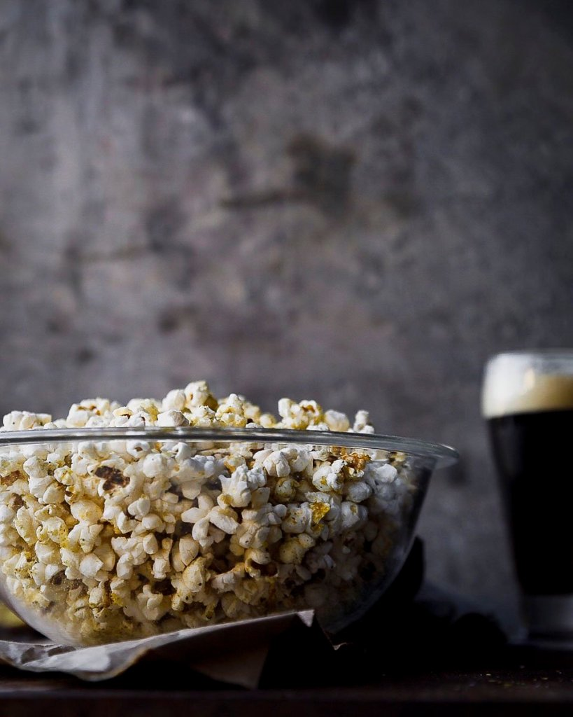 my favorite popcorn with nutritional yeast and ghee