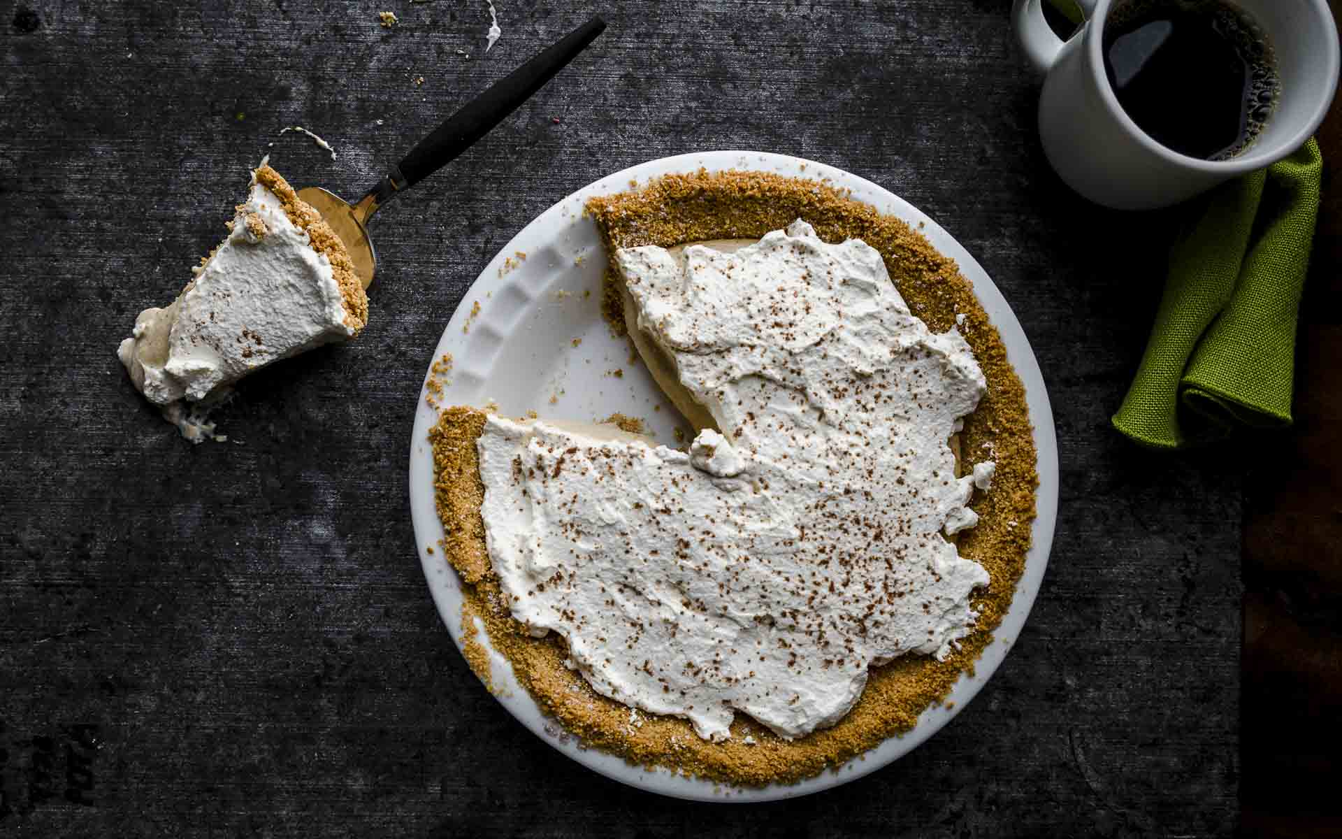 Irish Cream Pie topped with real whipped cream from above