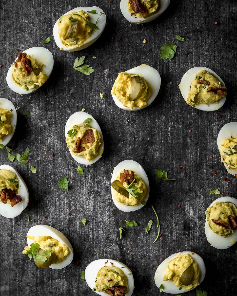 no recipe deviled eggs in a spiral from above