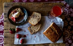 Strawberry Cider Quick Bread w/ fresh strawberries and balsamic