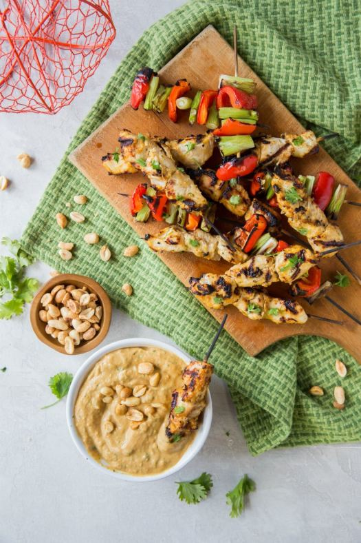 Thai Pumpkin Chicken Satay served with Pumpkin Peanut Butter Dipping Sauce