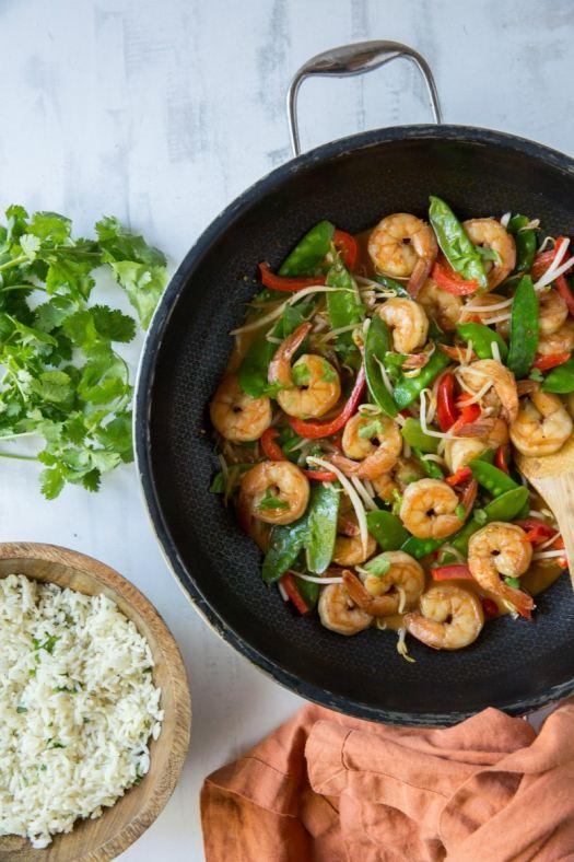 preparing Coconut Curry Stir Fried Shrimp
