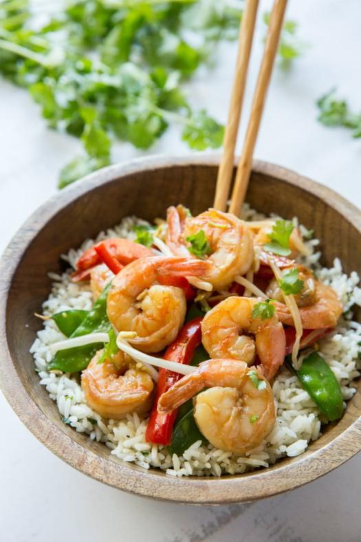 Chopsticks with Coconut Curry Stir Fried Shrimp over rice