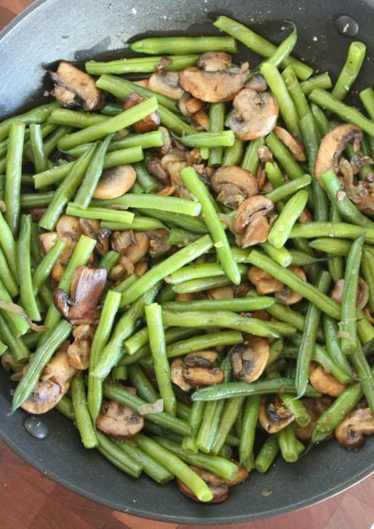 cooking Green Beans with Mushrooms and Shallots