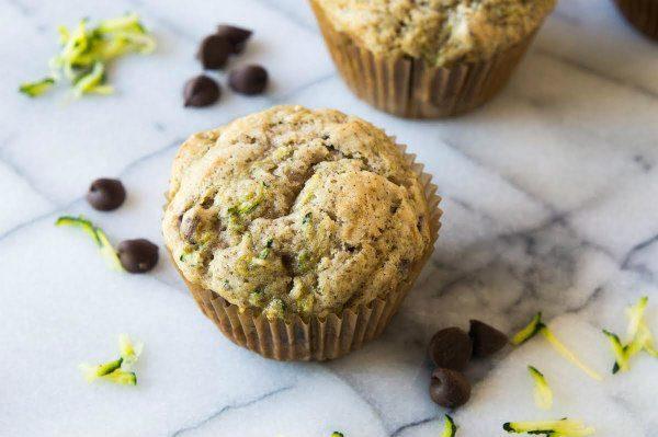 Zucchini Chocolate Chip Muffins recipe - from RecipeGirl.com