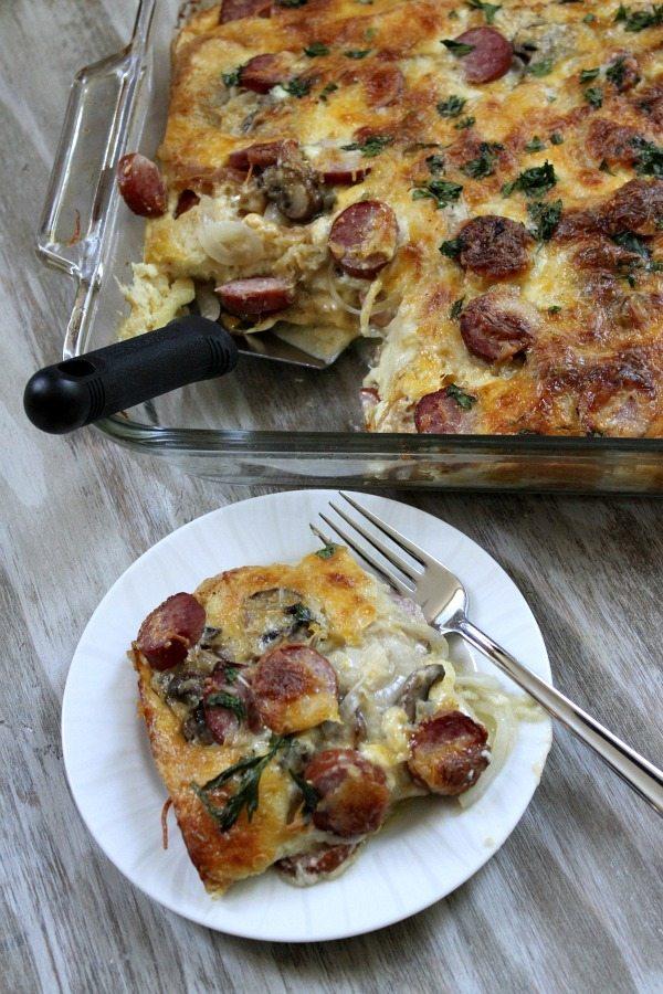 Egg- Mushroom Kielbasa Bake #Recipe