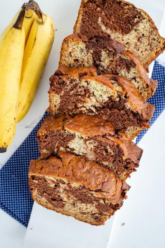 Sliced Marbled Chocolate Banana Bread