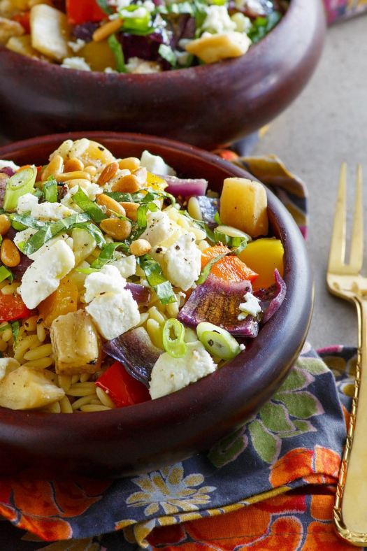 Servings of Orzo with Roasted Vegetables