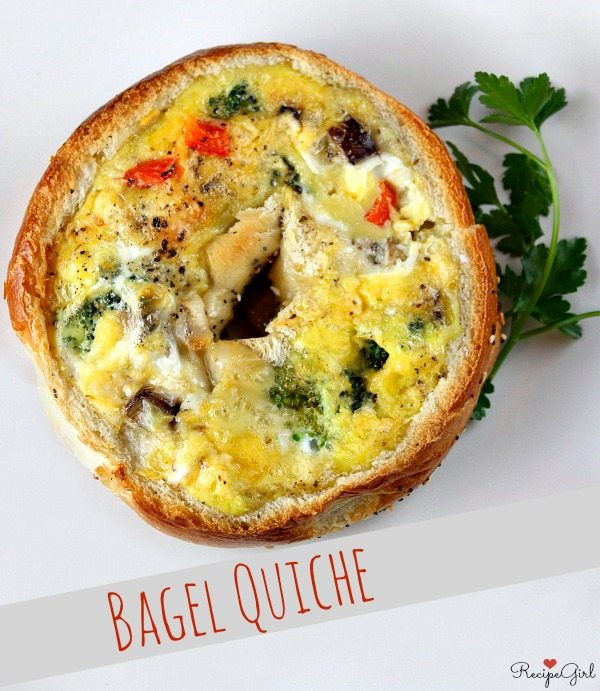 Bagel Quiche Recipe - RecipeGirl.com