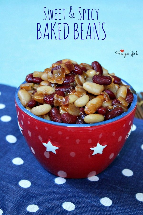 Sweet and Spicy Baked Beans #recipe - RecipeGirl.com