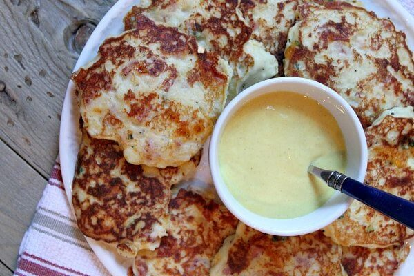 Ham and Cheese Potato Pancakes with Honey Mustard Sauce - recipe from RecipeGirl.com