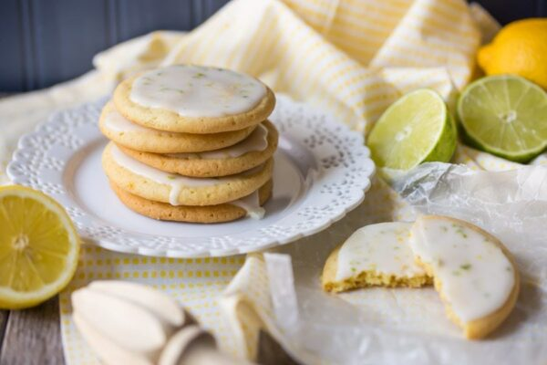 Iced Lemon Lime Cookies recipe - from RecipeGirl.com
