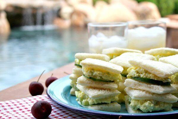 Avocado Egg Salad Tea Sandwiches - recipe from RecipeGirl.com
