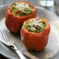 Kale Pesto Couscous Stuffed Peppers