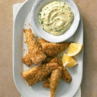 Panko-Crusted Fish Sticks with Herb Dipping Sauce