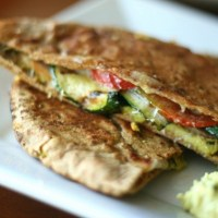 Grilled Zucchini and Ham Pita Panini with Basil Hummus