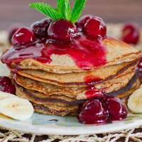 Banana Oatmeal Pancakes with Fresh Cherry Sauce