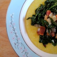 Kale and Green Garlic with Cheesy Polenta