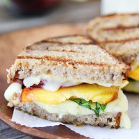 Grilled Peach, Brie and Basil Sandwich