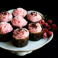 Double Chocolate Espresso Pound Cake with Rose-Scented Cream Cheese Frosting