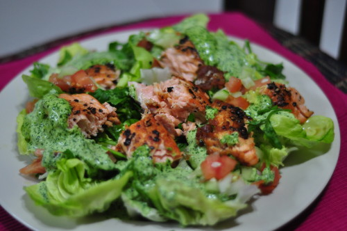 Peppery Salmon Salad with with Watercress dressing