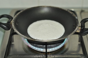 pour batter - Appam with Ground Rice (Traditional Method)