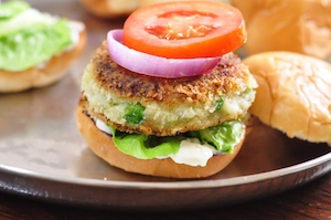 aloo tikki burger - press down with top bun