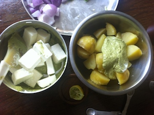 Paneer and Potato Tikka Skewers toss paneer and potato
