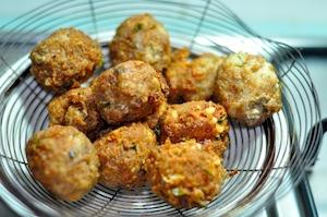Spaghetti and Meatballs - drain fried meatballs
