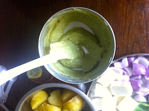 mix marinade well Paneer and Potato Tikka Skewers