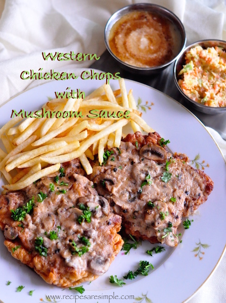 western chicken chops with mushroom sauce