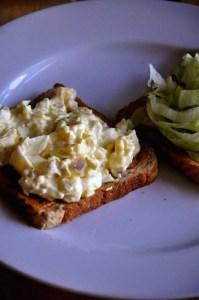 egg salad sandwich with lettuce