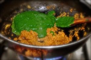 Palak Chicken 15, add spinach puree