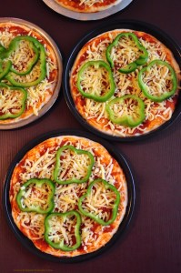 cheese and bell pepper pizza making