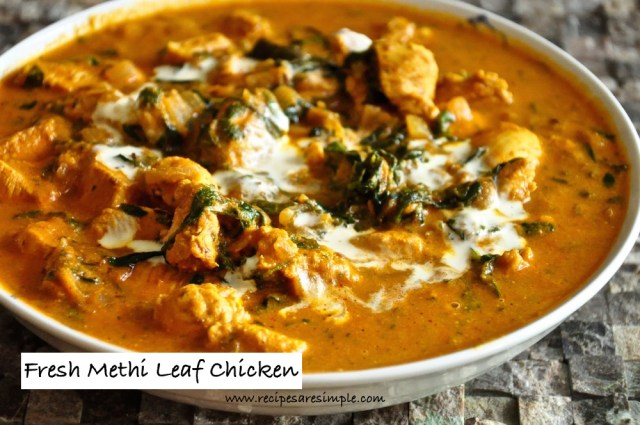 Fresh Methi Leaves Chicken Recipe