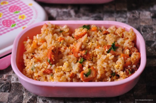 chicken tikka fried rice for kids lunch box