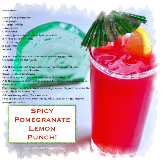 spicy pomegranate lemon punch recipe card