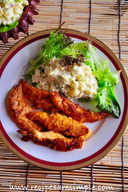 smoky grilled chicken tenders and potato salad recipe