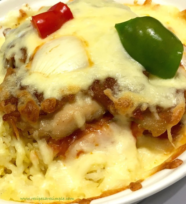 Chicken Chops Baked Rice with Cheese
