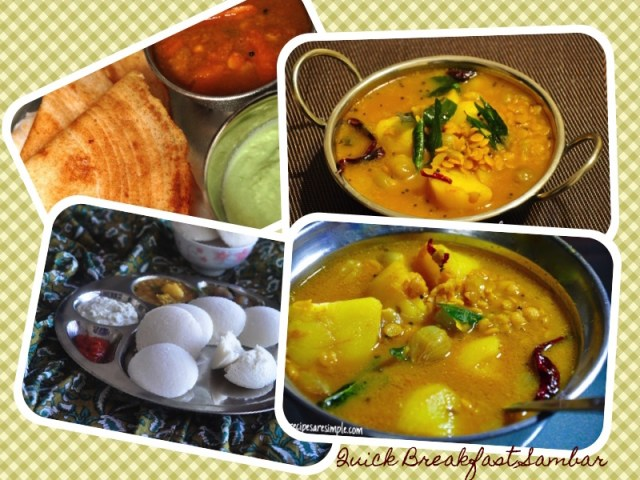 quick breakfast sambar youtube