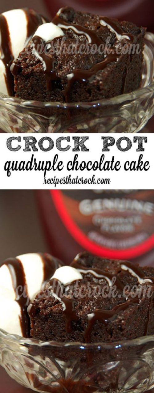 Quadruple Chocolate Crock Pot Cake: Do you love a great chocolate dessert? This super easy recipe that is ah-mazing!