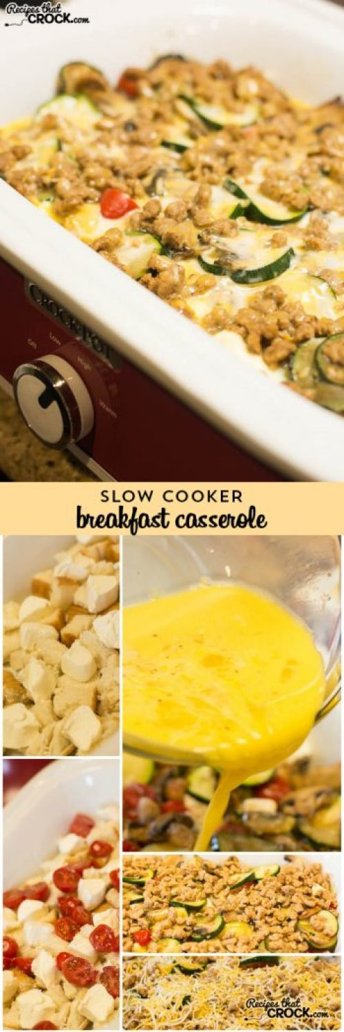 Crock Pot Breakfast Casserole: Easy slow cooker casserole that is always a family and crowd favorite! Great flavors for spring and summer.