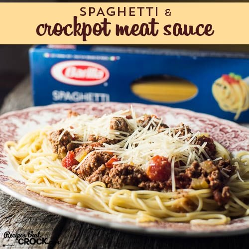 Spaghetti with Crock Pot Meat Sauce: Barilla® Spaghetti with {Crock Pot} San Marzano Tomato Meat Sauce is the perfect dish for kids of all ages 0-93 and so easy to throw together for dinner!