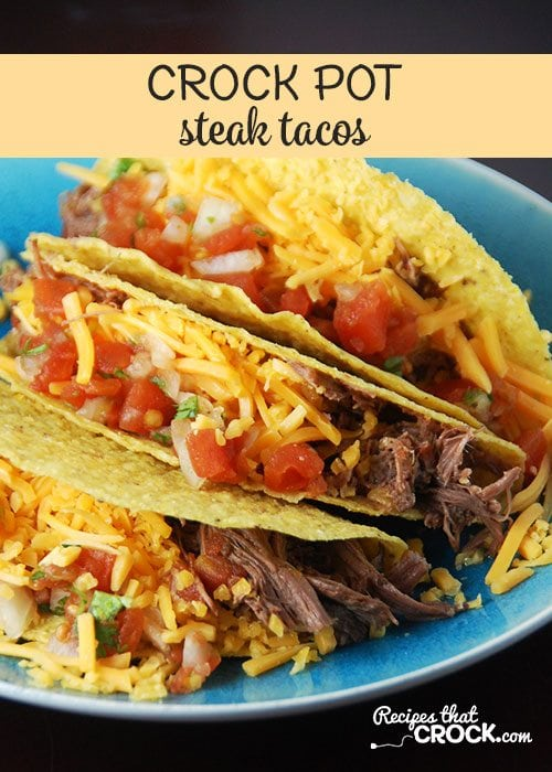 Delicious and simple Crock Pot Steak Tacos the entire family will love! This dump and go recipe produces tender shredded beef with savory Mexican inspired spices perfect for taco night! They are so simple to throw together and were an instant hit with my family! Low carb substitutions included.