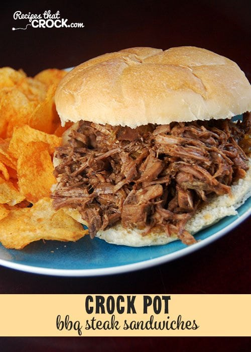 These Crock Pot BBQ Steak Sandwiches are ah-mazing!
