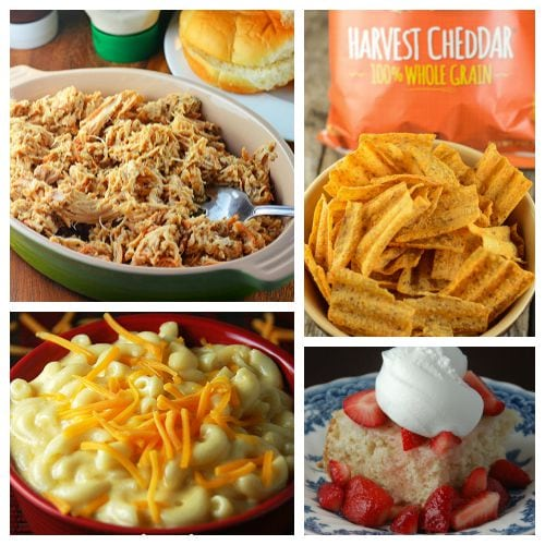 Easy Meal Ideas featuring Our Favorite Crock Pot Sandwiches! Five complete meal ideas including sides and desserts.  #ad #UniqueInEveryWave @sunchips0160